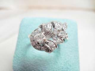 ANTIQUE VINTAGE 14K WHITE GOLD .65CTW DIAMOND RING Signed CRC