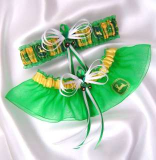 John Deere Green Jewel Wedding Garters Tractor Gift Box
