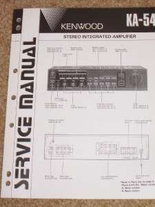 Kenwood KA 54 Amplifier Service Manual Parts List~Original