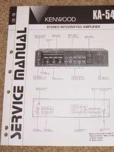Kenwood KA 54 Amplifier Service Manual Parts List~Original