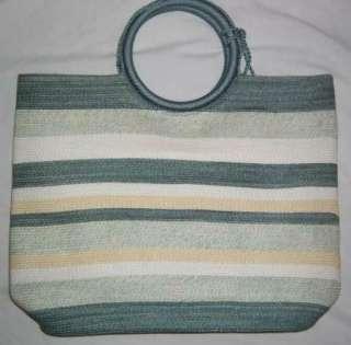 NWOT The Sak Blue/Green/White Stripe Tote Straw Purse