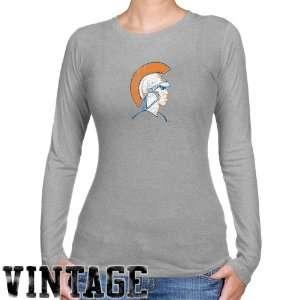 : NCAA Virginia State Trojans Ladies Ash Distressed Logo Vintage Long