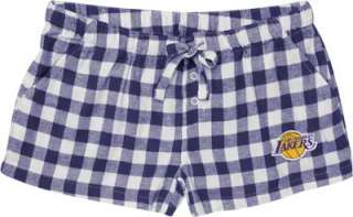 Los Angeles Lakers Womens Purple Paramount Flannel Shorts