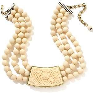Natural Beauty 3 Strand Simulated Ivory Beaded Necklace