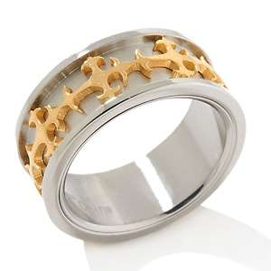 Anthony Jewelry® Two Tone Stainless Steel Cross Band Ring