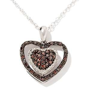 Red Diamond Sterling Silver Heart Pendant with 18 Chain
