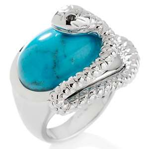 Chi by Falchi Diamond Accented Turquoise Oval Snake Ring