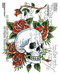 Skull Head & Long Stem Rose Tattoo, 4 X 3 (Makeup & Tattoos)