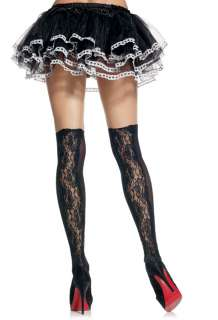 Opaque Thigh High Stockings with Lace Back Panel for Halloween   Pure