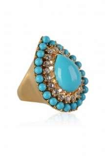 Gold & Turqoiuse Teardrop Ring by Kenneth Jay Lane   Metallic   Buy