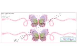 PINK PURPLE GREEN BUTTERFLY wall SCROLL room STICKERS vinyl decoration
