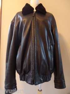 Andrew Marc Black Leather Jacket w/removeable Fur Collar Size L $2195