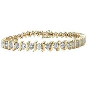 10k Yellow Gold Diamond S Link Tennis Bracelet (5 cttw, I J Color, I1