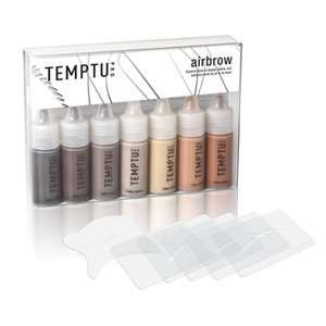 Temptu Airbrow Kit with 7 Airbrow Colors, 5 Airbrush Stencils, and 1