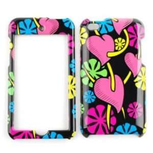 Apple iPod Touch 4 Four Pink Hearts and Colorful Flowers on Black Hard