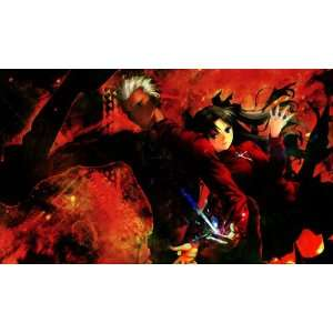 Anime Girl and Guy in Fire Custom Playmat / Game Mat / Mat