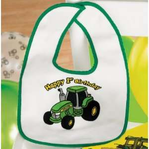 John Deere 1st Birthday Bib Party Supplies (White/Green