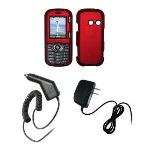 LG Cosmos VN250   Premium Red Rubberized Snap On Cover Hard Case Cell