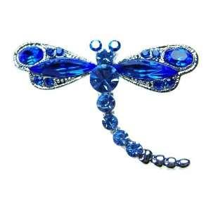 Blue Crystal Rhinestone Dragonfly Insect Bug Pin Brooch
