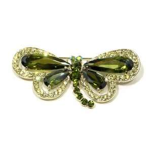 Green Olivine and Austrian Rhinestone Dragonfly Gold Plated Brooch Pin
