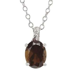 Brown Smoky Quartz and White Topaz Argentium Silver Pendant Jewelry