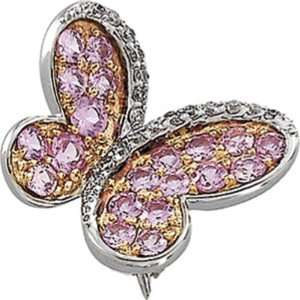 14K White Gold Pink Sapphire and Diamond Butterfly Brooch Jewelry