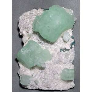 Mint Green Crystals With Stilbite And Calcite Natural Specimen   India