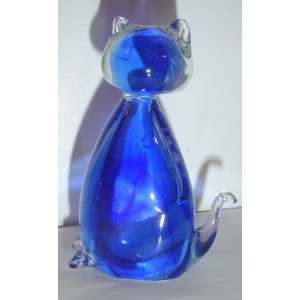 Crystal Glass Blue Kitty Cat Figurine Statue