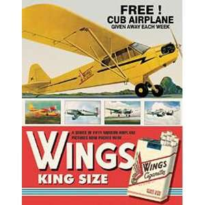 Wings Cigarettes Cub Airplane Metal Tin Sign Nostalgic