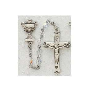 Silver Boys Girls Childrens First Communion Rosary with Chalice
