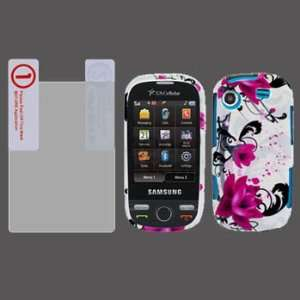 Samsung Messager Touch R630 Premium Design Red Flower on White Cover