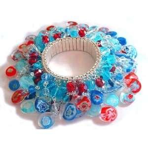 Millefiori Lampwork Glass Bead Charm Bracelet Arts, Crafts & Sewing