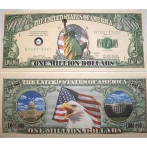 : Set of 10 Bills Statue of Liberty Million Dollar Bill: Toys & Games