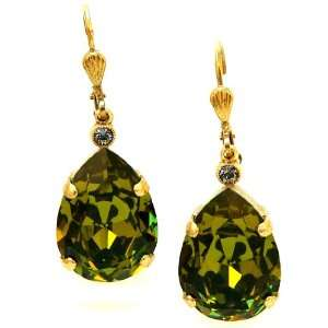 Large Teardrop Khaki Green Swarovski Crystal Drop Earrings Jewelry