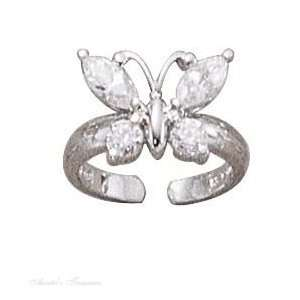 Sterling Silver Cubic Zirconia Butterfly Toe Ring Jewelry