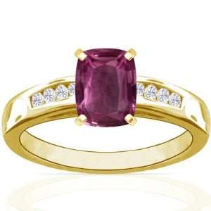 Yellow Gold Cushion Cut Pink Sapphire Ring With Sidestones Jewelry