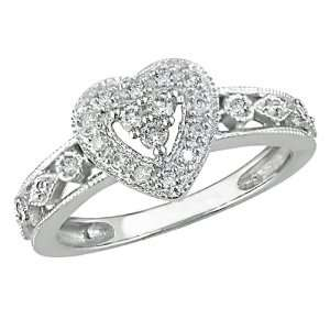 10K White Gold 1/6 Carat Diamond Heart Ring Jewelry
