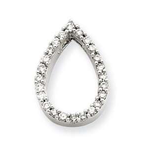 14k White Gold Diamond Teardrop Pendant Diamond quality AA (I1 clarity