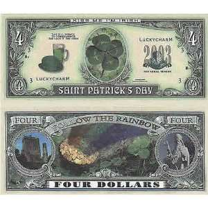 Set of 100 st Patricks Day Four Dollar Bill Toys & Games