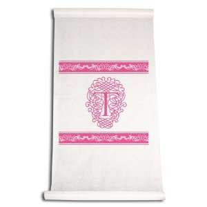Feet by 36 Inch Aisle Runner, Fancy Font Letter T, White with Hot Pink