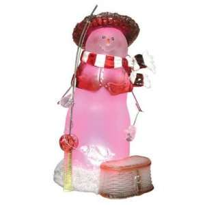 inch Pink Snowman In Hat Holding Fishing Pole Lighted Figurine