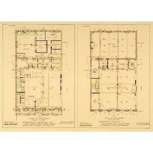 1909 Phi Gamma Delta Club NYC Floor Plans Hull Print