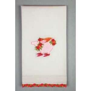 Krinkles by Patience Brewster, Rose Flying Pig Guest Towel