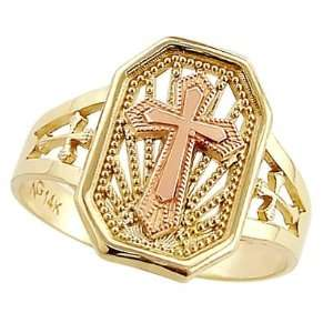 Cross Ring 14k Yellow Gold and Rose Gold Fashion Band