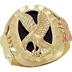 Gold Onyx Eagle Mens Ring Landstroms Black Hills Gold Jewelry