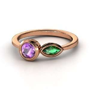 Bloom Ring, Round Amethyst 14K Rose Gold Ring with Emerald Jewelry