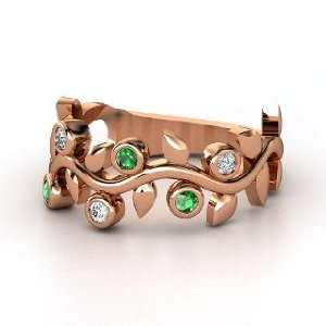 Liana Ring with Six Gems, 14K Rose Gold Ring with Diamond
