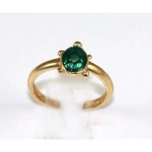 Solid 14K Yellow Gold green turtleToe Ring Jewelry