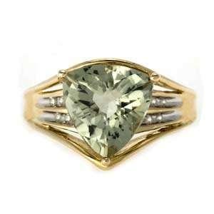 10k Yellow Gold, Green Amethyst, Diamond Ring (4.00 ctw