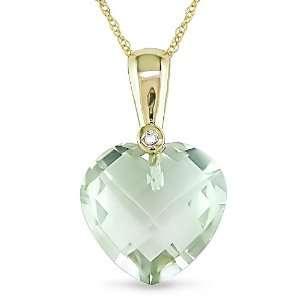 10k Yellow Gold Green Amethyst and Diamond Heart Pendant (1/10 cttw, H